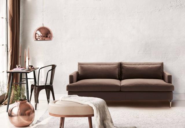 divano letto milano bedding dave tessuto marrone sfoderabile piedi alluminio lucido