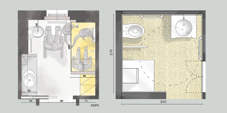 Ristrutturare il bagno due progetti per un bagno for Cose di casa progetti