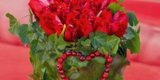 composizione tulipani rossi per San Valentino