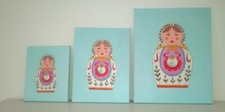 Tele decorative con matrioske dipinte 9