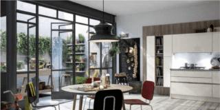 cucina like veneta cucine con tavolo rotondo e sedie vista terrazzo