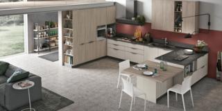 cucina-effetto-legno-chiaro-stosa-infinity-pet-rovere--ferro-cavallo-top-marmo