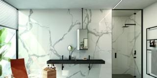 lastre in gres porcellanato Xlab Statuario di Iperceramica effetto marmo in formato 120 x 280 cm