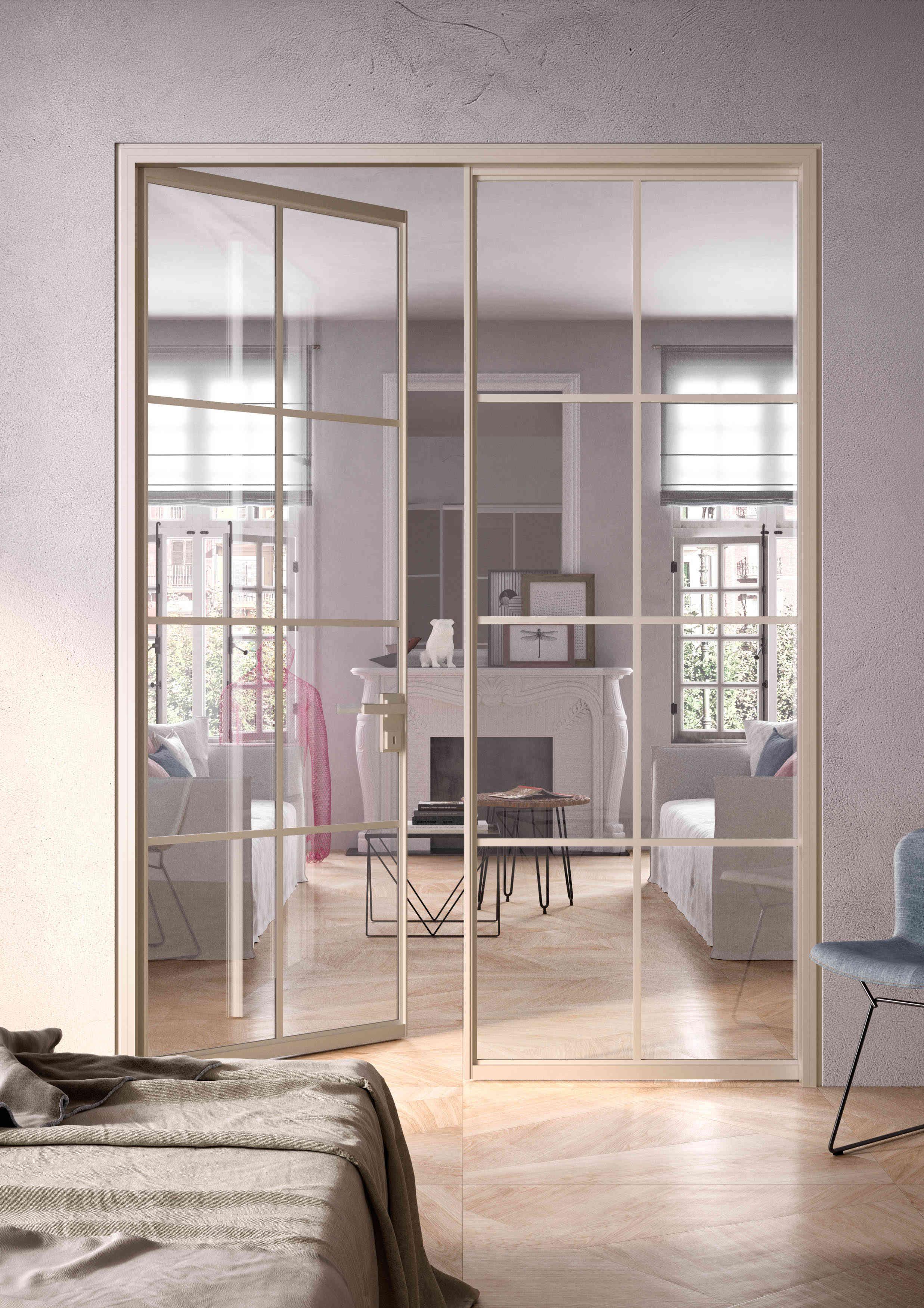 Parete Divisoria Con Porta Scorrevole pareti vetrate per separare ambienti. con parti fisse e