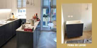 Montaggio mobili cucina al termine della ristrutturazione di una casa progettata dall'architetto Clara Bona