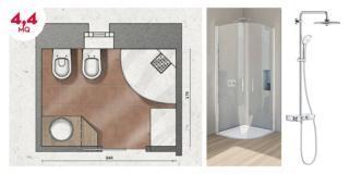 Bagno con doccia e lavanderia in 4,4 mq. Progetto in pianta