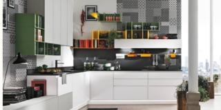 cucina infinity stosa bianca con con carta da parati optical