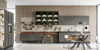 cucina boiserie attrezzata round 12 lube ante malta grigio asfalto bancone snack