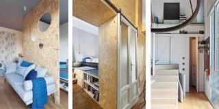 Separare zone della casa con pannelli in OSB: 3 progetti di interior design