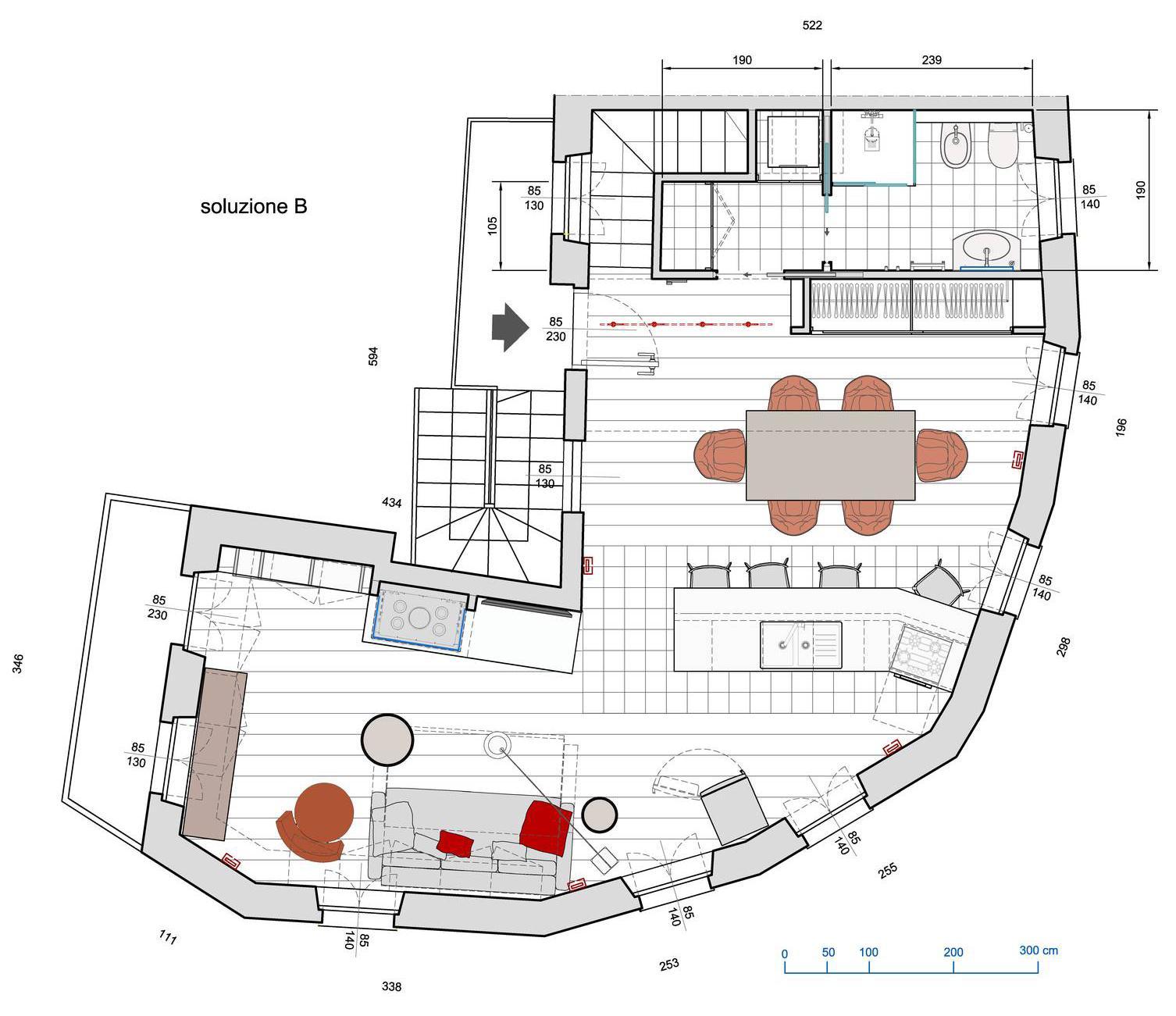 Arredare soggiorno-cucina a pianta irregolare: planimetria ...