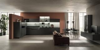 cucina forma L delinea scavolini ante laccato opaco grigio ferro