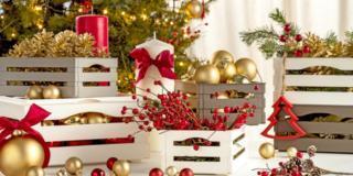 cassetta in plastica Tina di Bama addobbata per Natale