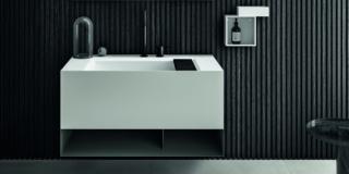 lavabo Monolite Alto di Cerasa dalla forma squadrata in deimos