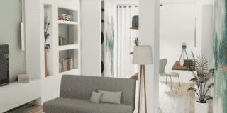 render progetto 3D soggiorno libreria e lavanderia nascosta