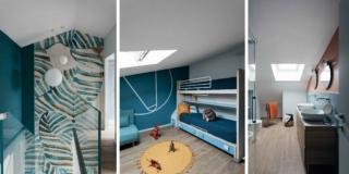 Una casa (con sottotetto) dalle suggestive cromie