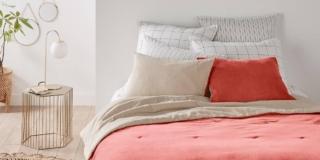 copriletto matrimoniale velluto puro cotone lavato arancione misto lino cotone velvet laredoute