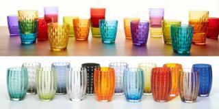 Bicchieri colorati per la tavola