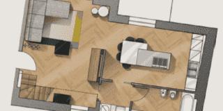 Una quinta per dividere soggiorno e cucina e far sembrare gli spazi più grandi
